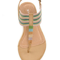 Bamboo Steno 09 Natural Multi Pastel Thong Sandals