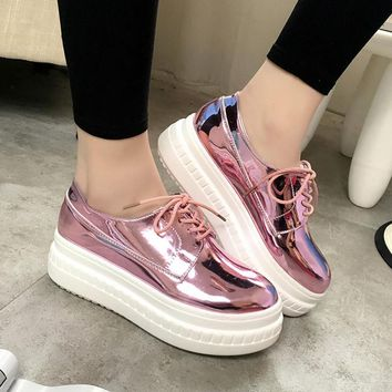 Fashion Patent Leather Shoes Woman Handmade Designer Ladies Loafers Flat Platform Shoe
