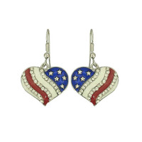 USA Heart Stud Earrings (American Flag Independence Day Patriotic Vintage July 4th Jewelry RSN3065-E)