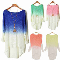 Long Sleeve Pullover Gradient Sweater