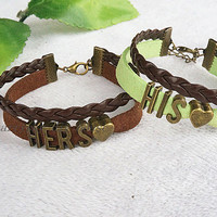 Handmade Lovers Bracelets.Leather Bracelet, His and Hers Bracelet,Couples Bracelets set.Valentine's Day gift,Anniversary Jewelry.