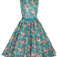 Lindy Bop Classy Vintage Audrey Hepburn Style 1950's Rockabilly Swing Evening Dress (M, Turquoise)