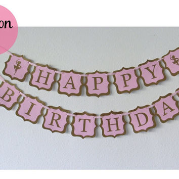 Ballerina Glitter Happy Birthday Banner in Pink and Gold
