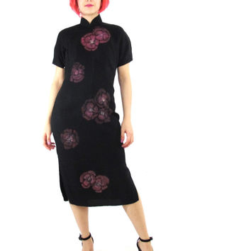 1960s Cheongsam Dress Hand Painted Floral Chinese Dress Formal Qipao Knee Length Short Sleeve Dress Mandarin Collar Asian Wedding Dress (M)