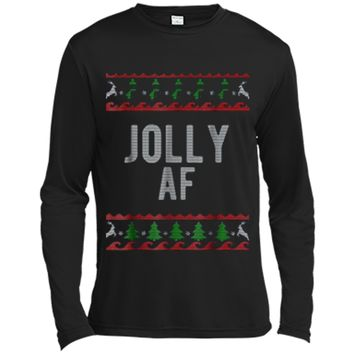 Cool Jolly AF Ugly Christmas Sweater Style Funny  Long Sleeve Moisture Absorbing Shirt