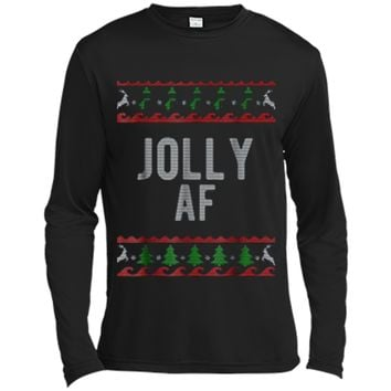 Cool Jolly AF Ugly Christmas Sweater Style Funny Long Sleeve Mo cdab8632b
