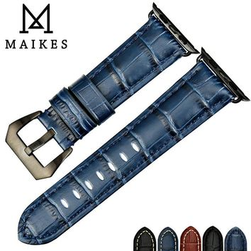 MAIKES Watch accessories watchbands genuine cow leather watch band for black Apple Watch strap 42mm 38mm series 2 & 1 iwatch