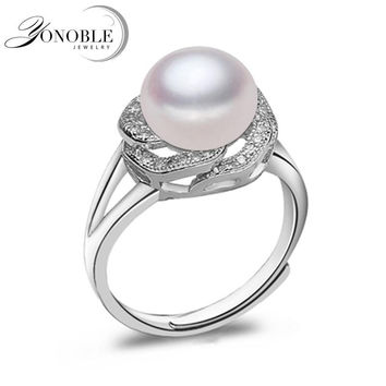Real Lady natural pearl ring 925 silver wedding rings men adjustable ring for women wife anniversary gift white pink