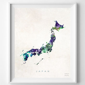 Japan Map, Tokyo, Print, Asia, Osaka, Japan, Nihon, Watercolor, Home Town, Poster, Country, Nursery, Wall Decor, Painting, Bedroom, World