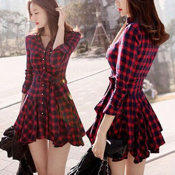 DCCKIX3 Korean Classics Vintage Plaid Long Sleeve Pleated Shirt Dress Shaped Slim One Piece Dress [4962048324]
