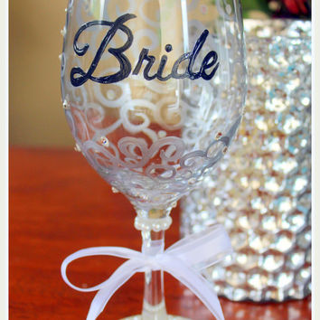 Bride Wine Gl Hand Painted Wedding With Swarovski Element Crystals Personalized