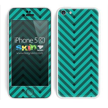 Sketched V3 Chevron Pattern Trendy Green and Black Skin For The iPhone 5c