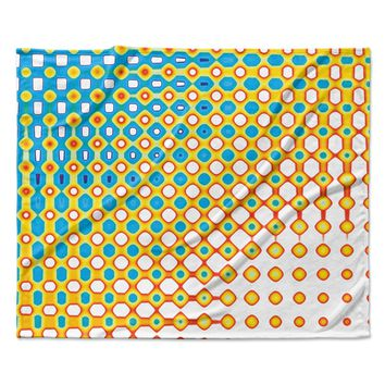 "Dawid Roc ""Psychedelic Art"" Yellow Blue Fleece Throw Blanket"
