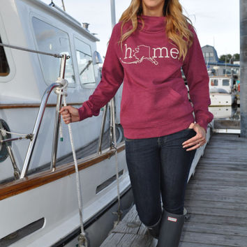 Alaska home 3 button hoodie cranberry heather