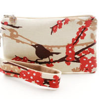 Bird on branch wristlet / clutch / small purse / zipper pouch & detachable key fob gift set for women in red and white