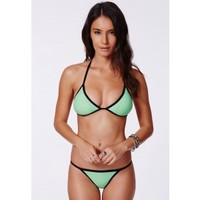 Missguided - Jerica Mint Contrast Triangle Bikini
