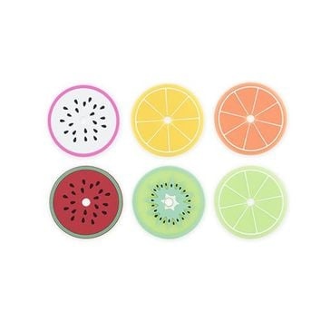 Tropical Fruit Drink Lid Coasters By True Zoo