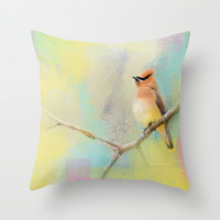 Song of the Waxwing Throw Pillow by Jai Johnson