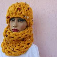 Yellow Wool Beanie and Loop Scarf Set  Yellow Chunky Beanie Winter Hat for Women Hand Knitted Beanie EXPRESS SHIPPING