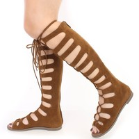 Tan Lace Up Gladiator Sandals Faux Suede