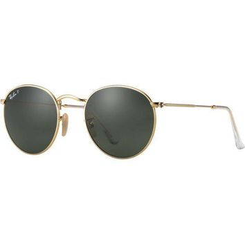 Ray Ban Round Sunglasses Matte Gold Classic Green G 15 Polarized Rb 3447 112/58 | Best Deal Online
