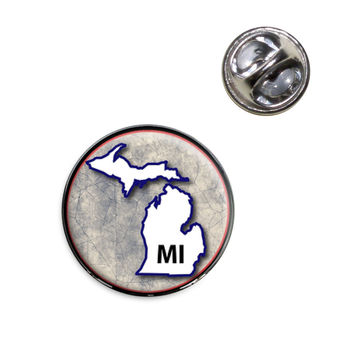Michigan MI State Outline on Faded Blue Lapel Pin