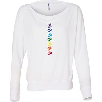 Yoga Clothing For You Chakra OMS Flowy Off-the-Shoulder Yoga Tee Shirt