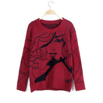 Embroidery Pullover Sweater Winter Knit Tops Jacket [8216430401]