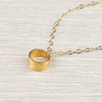 Tiny circle necklace eternity necklace 14k gold by DeniasTreasures