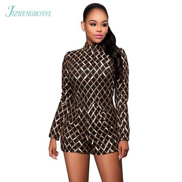 JIZHENGHOUSE Vintage Sexy Gold Sequins Jumpsuits Summer Skinny Plaid Sequins Rompers Clubwear Long Sleeves Women Playsuits