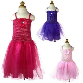 Girl's Crochet & Tulle Dress