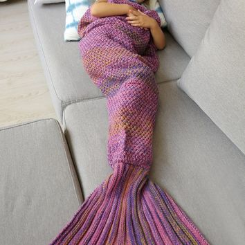 Winter Thicken Longer Knitted Color Block Wrap Sleeping Bag Mermaid Blanket