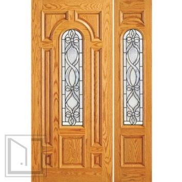 Pre-hung Mahogany Center Arch Lite Entry One Sidelite Door