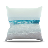 "Nastasia Cook ""Crystal Clear"" Ocean Wave Outdoor Throw Pillow"