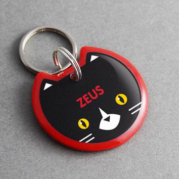 Cat ID Tag Tuxedo - Cat Collar, Cat Harness, Cat Clothes, Cat Lover Gift, Pet iD Tag, Black and White, Creepy Cute, Personalized, Custom