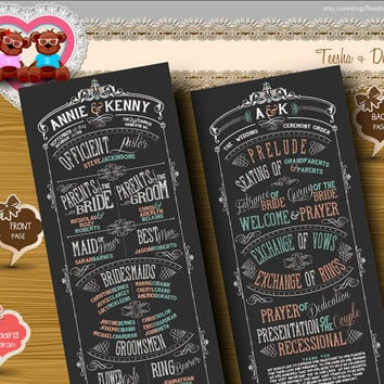 Custom Wedding Program ceremony order chalkboard typography classic white mint coral color theme clipart - DIY print file (w0136)