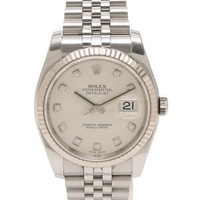 ROLEX Datejust self-winding watch men's 10P diamond SS K18WG White Gold Silver
