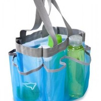 Honey-Can-Do SFT-01103 Quick Dry Shower Tote, 7-Pocket, Blue