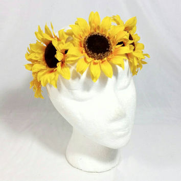 Hippie Sunflower Headband/Boho Flower Headband/Coachella Halo Headband/Music Dance Festival/Yellow Flower Hair Accessory/Burning Man