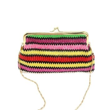 2017 Ladies Knitting Rainbow Pattern Wallet Shoulder Bag Woven Rainbows Wallet Purse Handbag  bolsa Comfystyle DropShipping