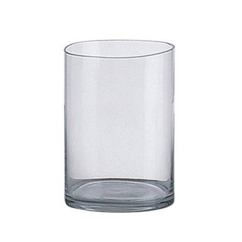 "Clear Glass Cylinder Vase - 12"" Tall"