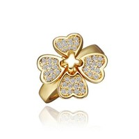 18K Yellow Gold Plated Swarovski Elements Crystal Four Leaf Colover Ring, Size 8