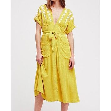 free people - love to love you embroidery midi dress - yellow