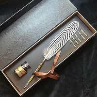 Silver Pheasant Feather Motif Writing Quill Pen With Ink LL-35
