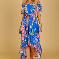 Off the Shoulder Hi-Lo Print Dress Blue