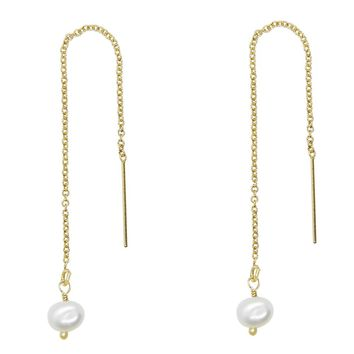 Tiny Baroque Pearl Threader Earrings