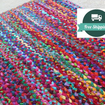 Rug Braided Bright Cotton Rag Rug, Eco Friendly Vegan, Rag Rugs, Orgainc Non Treated Colorful Bathroom Kitchen Welcome Mat FREE US Shipping
