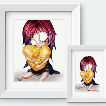 Bittersweet  - Art Print by Lost Colours // Pop Surrealism, Lowbrow, Pastel Grunge, Pastel goth, Soft grunge, Creepy Cute, Home decor,Zombie
