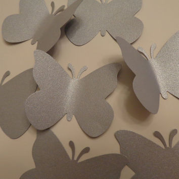 Large Silver Butterfly Die Cuts-Butterfly Punch, Paper Butterfly, Butterfly Decorations,Wedding Die Cuts-set of 50