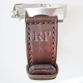 Engrave leather watch strap, Engrave initials